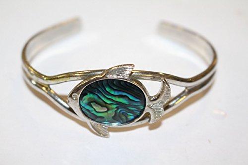 Unbekannt Original Vintage Armband Armreif Fisch 1970er 70s Echtes Perlmutt Schmuck Design
