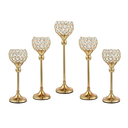 ECOM KING Gold Crystal Candle Holder,Tea Light Candlestick Holders for Wedding Table Decoration,Centerpiece for Party Home Decor(Gold,5Pcs)
