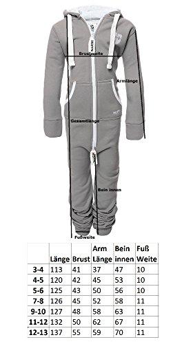 Gennadi Hoppe Kinder Jumpsuit Overall Jogger Trainingsanzug Mädchen Anzug Jungen Onesie,hell grau,7-8 Jahre - 6
