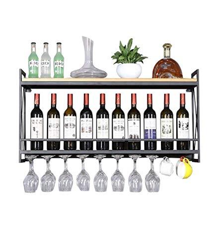 Estantería de vino Estante de vino de metal Soporte de botella de vino vintage de madera montado en la pared Estante de vino rústico Estante de pared for almacenamiento Soporte de vidrio for colgar vi