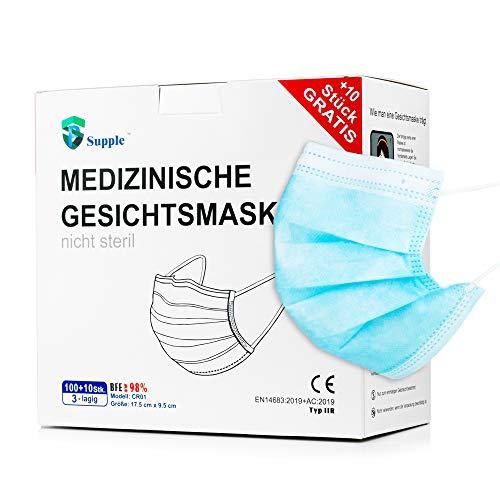 NEU: 100 Stück + 10 Stück GRATIS Medizinischer Mundschutz – TYP IIR (CE Zertifiziert), 110 Stück Atemschutzmaske Medizinisch