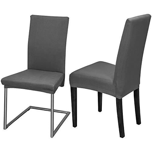 Staboos Stuhlhussen 2er Set aus 96% Baumwolle - Bi-elastische Stretch Stuhlüberzüge - Universal Stuhlbezug - Stuhlabdeckung waschbar & bügelfrei, Dunkelgrau