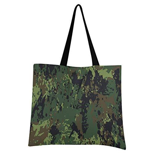 BEUSS Militärische Ökostrom Einkaufstasche Faltbar Leicht Wiederverwendbare Stofftasche Dauerhaft Handtasche Tragbare Aufbewahrung für Reisen Frauen Mädchen