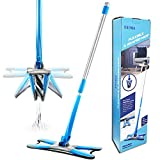 US1984 Upgraded X Shape Mop Hands-Free Squeeze Microfiber Flat Mop System 360° Flexible Head, Wet and Dry mop with 1 Super-absorbent Microfiber Pads, 56.4'' .