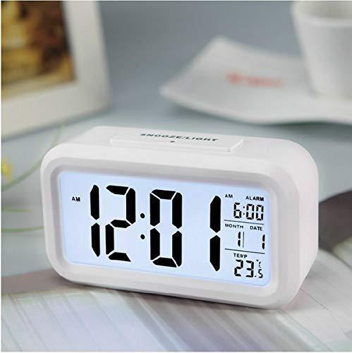 DNC ENTERPRISE Digital Smart Backlight LCD Display Automatic Sensor, Date and Time, Temperature Plastic Alarm Clock (White)