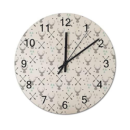 Reloj de Pared Vintage,Caza temático Flecha Triángulo,Relojes de Pared de Madera silenciosos Que no Hacen tictac,Reloj de Pared rústico de Granja para la decoración del Dormitorio de la Sala de Estar
