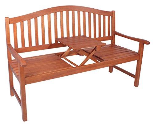 Unbekannt VARILANDO Gartenbank Primrose mit hochklappbarem Tisch aus geöltem Eukalyptus Hochzeitsbank Sitzbank Holzbank