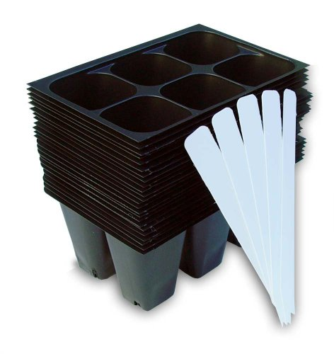 9GreenBox - Seedling Starter Trays, 144 Cells: (24 Trays; 6-Cells Per Tray), Plus 5 Plant Labels