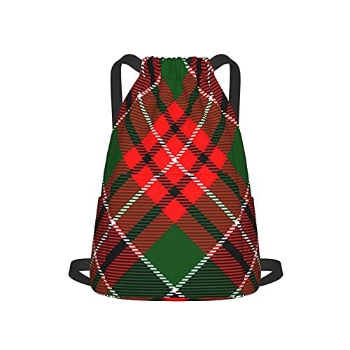 Bolsa con cordón, bolsa de cincha de poliéster, bolsa de gimnasio, mochila deportiva para hombres, mujeres y niñas, a cuadros, verde escocesa