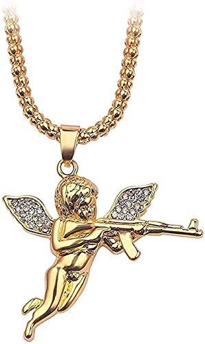 Collar Collar con Colgante De Alas De Querubín para Niño De Cristal Amuleto Disparar Cupido Amor Dios Cruz Hip-Hop Collar con Encanto Masculino Joyería De Cadena Larga