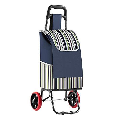 XUSHEN-HU Carro de la compra plegable, extraíble e impermeable, bolsa de tela Oxford impresa, carrito de escalada, carrito de lavandería con 2 ruedas grandes, carrito de la compra ligero Kitche