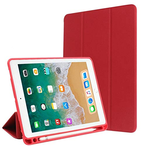 GHC PAD Cases & Covers For iPad 9.7 2017/2018, Smart Tablet PU Leather Case Flip Tri-Folding Protective Stand With Pencil Slot Cover For iPad 9.7 2017/2018 (Color : Red)
