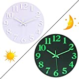 OIURV 12 Zoll 30CM Leuchtend Wanduhren Nachtleuchtend Geräuschlose ohne tickgeräusche Leuchtziffern Lautlos Wanduhr für Schlafzimmer Wohnzimmer - (Weiß)