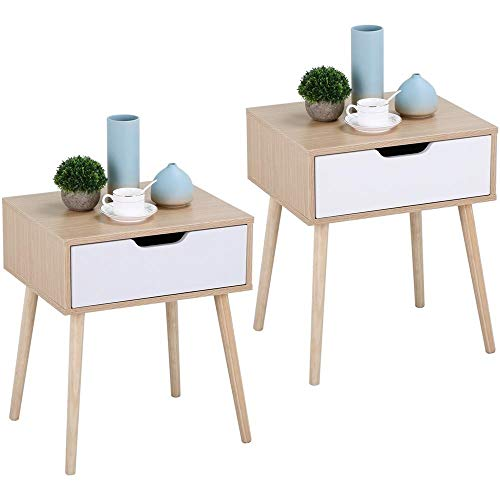 Yaheetech Table de Chevet Design Lot de 2 Tables de Nuit avec Tiroir Scandinave Table Carrée à Café pour Salon Couloir Chambre Bureau
