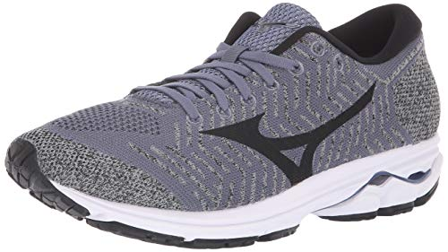 Mizuno Men's Wave Rider 22 Knit Running Shoe folkstone gray-black, 8 D US