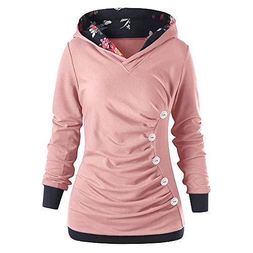 TOPKEAL Hoodie Pullover Damen Herbst Winter Langarm Plaid Kapuzenpullover Sweatshirt Rollkragen Tartan Winterpullover Jacke Mantel Tops Mode 2038 (Rosa, L)