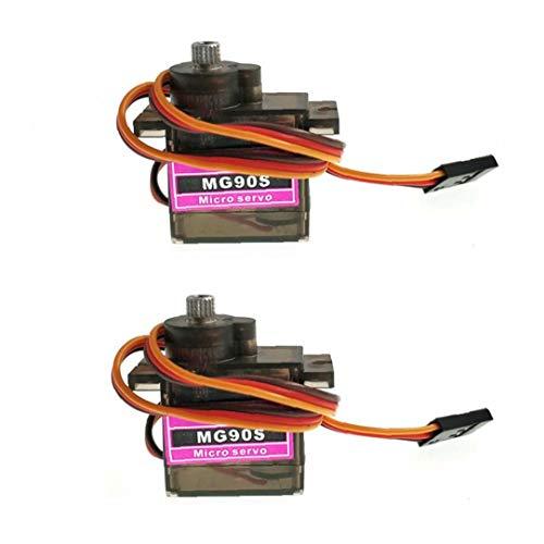 Aardich MG90S Micro Servo Motor Mini-Metall-Micro Servogetriebe Kompatibel für Hubschrauber-Fläche-Boots-Auto-2ST