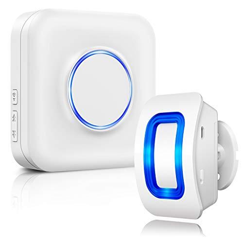 BITIWEND Sistema de Alarma de Seguridad inalámbrica con Detector de Movimiento, 1 Detector de Movimiento y 1 Receptor, Rango de 150m, 58 Tonos de Timbre, indicador LED para casa, Tienda, Garaje