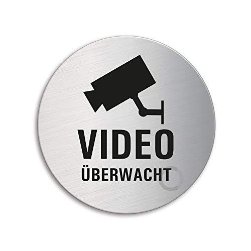 Schild - Videoüberwachung | Türschild aus Edelstahl Ø 75 mm | Original Ofform Design Nr.39226