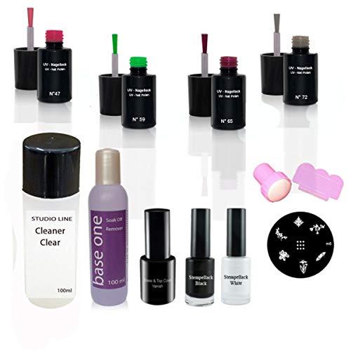 Nail Art UV Vernis à ongles set N°1, UV Vernis à ongles, dissolvant, Cleaner, Base & Top Vanish, Kit d'estampage