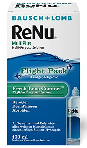 Bausch & Lomb ReNu MultiPlus Kombilösung mit Proteinentferner - Kontaktlinsenreiniger, Aufbewahrungslösung für weiche Linsen, Reise-Set, 100 ml