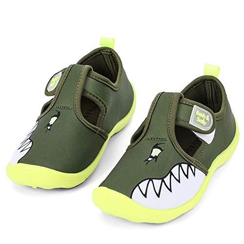 nerteo Kids Water Shoes Boys Beach Sandals Walking Sneakers Olive/Shark 7 Toddler