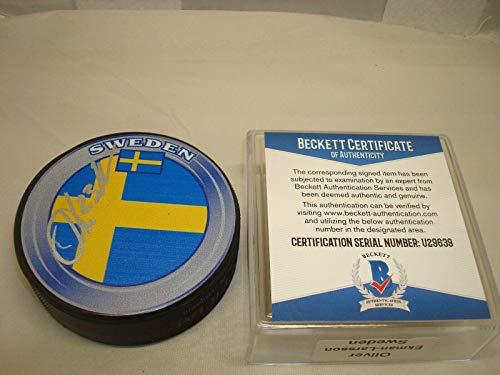 Oliver Ekman-Larsson Signed Team Sweden Hockey Puck Autograph Beckett BAS COA 1A - Autographed NHL Pucks