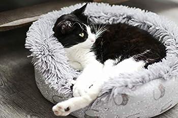Aime Corbeille Fourrure Ronde pour Chat/Petit Chien Couchage Mistigri Confort Poils Longs Extra Doux Taille S Diamètre 45 cm