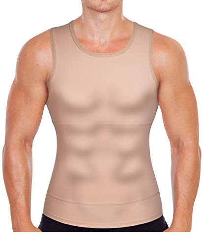 Gotoly Men Compression Shirt Shapewear Slimming Body Shaper Vest Undershirt Weight Loss Tank Top (Beige, Large)
