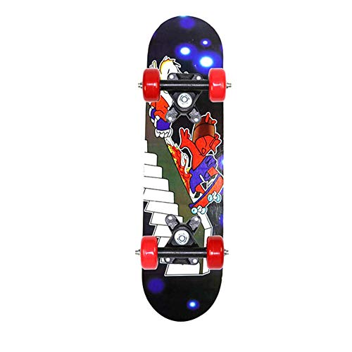 Hanyf - Skateboard per principianti, doppio rocker in acero, adatto per principianti, ragazze, ragazzi, può sostenere 74,8 kg, D