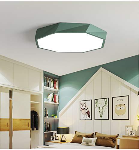 Plafoniera LED Lampada a Soffitto Moderna,18W Creativo Geometrica Lighting,per Camera da Letto, Cucina, Corridoio, Bagno,Cantina,Balcone(Verde/Bianco caldo)