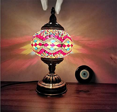 Lámpara de mosaico turco decorativo hecho a mano de la mesita de noche de vidrio único, lámpara de noche colorida marroquí de la noche de la noche, lámpara de luz con bombilla LED-color