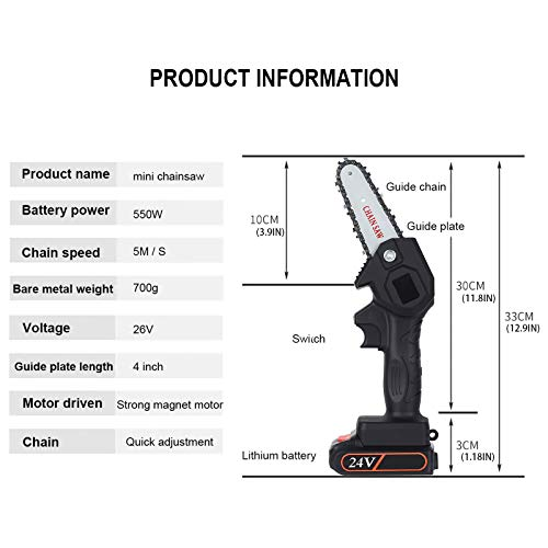 Greatby Mini Chainsaw Cordless Electric Handheld Rechargeable Battery Chainsaw 4-Inch 24V Portable One-Hand 0.7kg, Pruning Shears Chainsaw for Tree Branch Wood Cutting (Black)