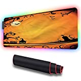RGB Soft Gaming Mouse Pad Large, Vintage Halloween,Grave and Pumpkin, Non-Slip...
