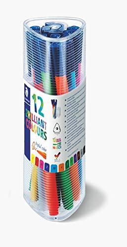 Staedtler 323 PR12 triplus color Fasermaler dreikant, 10 + 2 Stück Gratis in transparenter Dose
