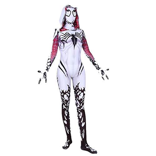 LINLIN Gwen Spiderman Trajes para Adultos Cosplay Body Spider Woman Woman Dress Apretar Ropa Chicas Partido Rendimiento Props Body Superhero Onesies,Red- Adult XXL 175~180cm