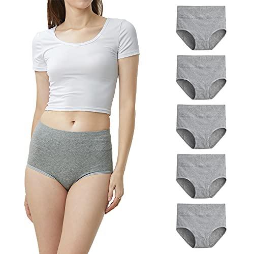 LK LEKUNI Damen Unterhosen Baumwolle Unterwäsche Hohe Taille Slips 5er Pack Hoher Taillenslip für Frauen -Grau-XL