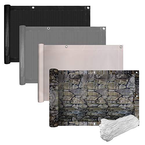 euroharry PVC-Balkonsichtschutz Balkonabdeckung Balkonverkleidung 90x600 cm Blickdichte Windschutz UV-Schut (90x600 cm, Grau)