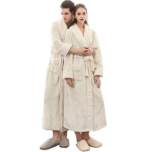 AIEOE Men & Women Collar Fleece Bathrobe Bath Spa Hotel Collections Robe Warm Winter Robe-White/3X-Large