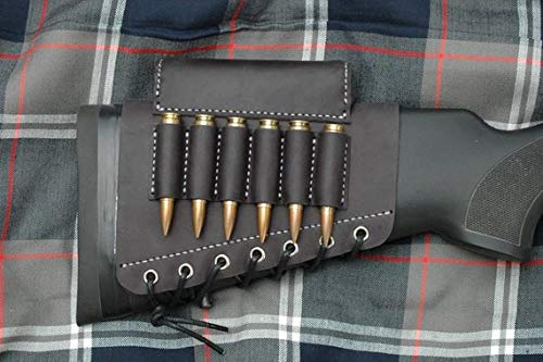 vsdfvsdfv Real Leather Rifle Cartridge Holder Buttstock Cheek Rest Pad Gun Vintage (Black Right(410 and 45-70 Cal))