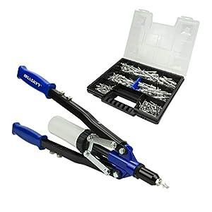 Pistola de remache Remachadora 3,2 - 4,0 - 4,8 - 6,0 - 6,4 mm mm incluye 150 remaches de aluminio en caja organizadora/maletín