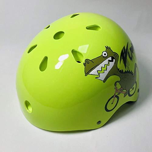 Rollschuh Kinder verstellbare Größe Helm Fahrradhelm SkateboardAuto Schlittschuhe Sport Hip-Hop Helm-Fluorescent Yellow M (52-58CM) _9 Jahre und älter