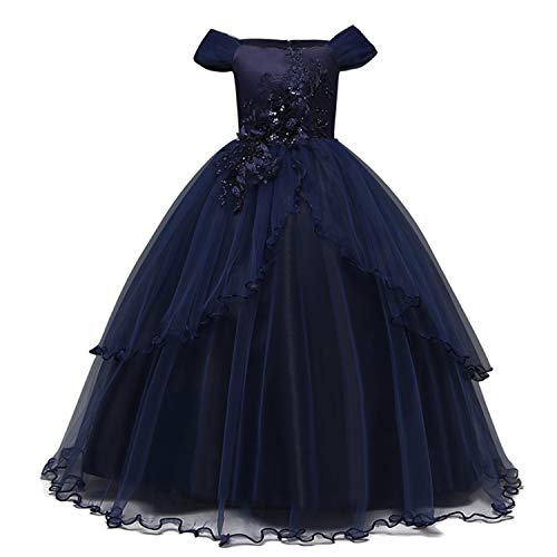 TTYAOVO Mädchen Festzug Ballkleider Kinder Chiffon Bestickt Hochzeit Kleid (Blau Lila, 9-10 Jahre)