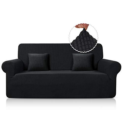 TAOCOCO Funda de Sofá/Funda de sofá Antideslizante/Funda de Fofá Elástica/Lavable/Antiácaros/Antiarrugas (Negro /3 Plazas 180-240 cm)