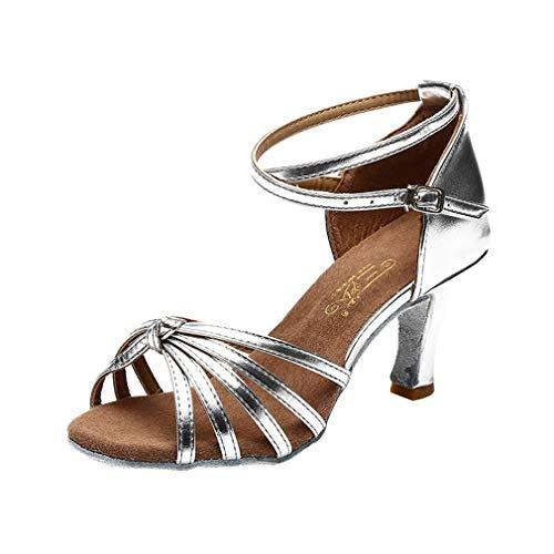 Latin Dance Sandal Damen Mädchen Sandalen mit Offenem Zehenbereich Komfortable Latein Rumba Salsa Tango Walzer Soziale Schuhe Tanzschuhe mit Mitte Absatz
