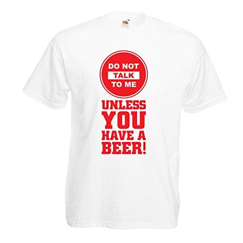 Männer T-Shirt Bier-Liebhaber-Zitate! Álcohol Lustige Geschenk-Ideen, Kleidung für Party, Trink-Shirts, Kneipe, Bar Sagen (Medium Weiß Mehrfarben)