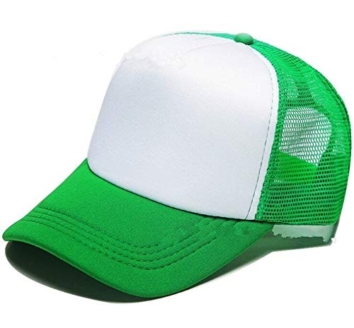Poliéster Hombres Mujeres Gorra de béisbol Malla Snapback Imprimir Logo Sombrero de Camionero-Green and white-1-48-52(Kids)