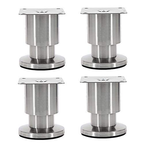 HZWDD Patas de Metal para gabinete de Muebles Patas de sofá de Acero Inoxidable Ajustables Pies de Soporte de Mesa de Centro engrosados Pies de Muebles Plateados Pies de gabinete de 8-15 cm