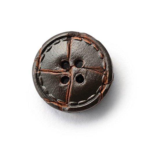 本革ボタンLZ1500 15mm (color.04ダークブラウン)紳士服スールジャケットコート用ボタン