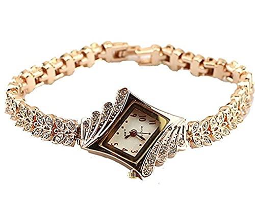 1PC cristal de las mujeres del reloj de cuarzo elegante reloj de pulsera del brazalete del rombo plateado relojes de pulsera-oro, cuarzo reloj de pulsera